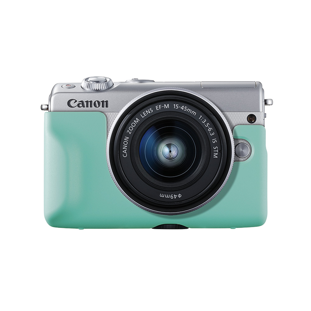 ba62f440357b1e CANON EOS M100 Blanc + 15-45 mm f 3.5-6.3 IS STM + Coque turquoise + 50GB  Irista Offert